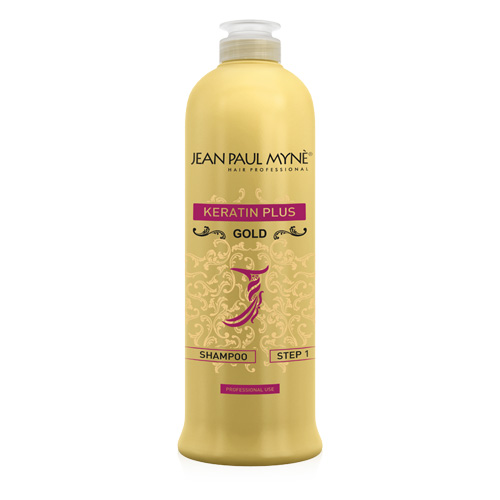 Keratin Plus Gold Shampoo Jean Paul Mynè a pH basico, arricchito con estratti di Aloe vera e caffè, da utilizzare esclusivamente come primo passo del trattamento per la lisciatura