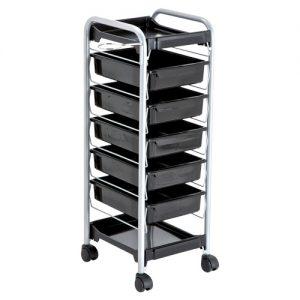 Carrello KAREL AGV Group per parrucchiere con struttura in metallo argento e 5 cassetti neri.