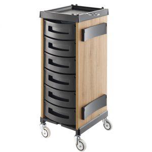 Carrello King Wood rovere Chiaro Agv Group in legno laminato col rovere chiaro, disponibile in 7 configurazioni di cassetti differenti.