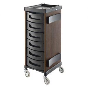 Carrello King Wood Rovere Scuro Agv Group in legno laminato col rovere scuro, disponibile in 7 configurazioni di cassetti differenti.