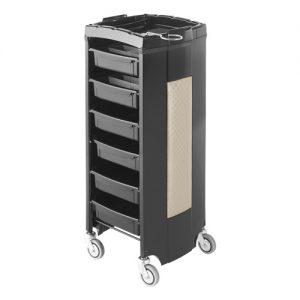 Carrello Move AGV Group color nero con inserto in finta pelle, 6 cassetti estraibili.