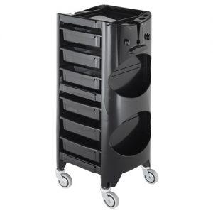 Carrello Swing AGV Group per parrucchieri interamente color nero, 6 cassetti e vani sulle fiancate laterali.
