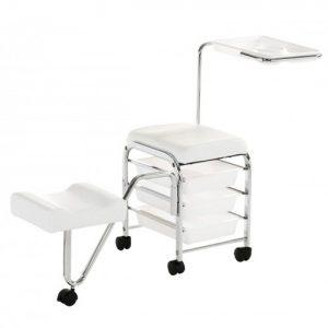 Chrome Pedicure Uki è un carrello pedicure con piano di lavoro, appoggiapiedi, 3 cassetti, telaio in metallo cromato e sedile imbottito