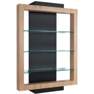 Espositore Even AGV Group con mensole in vetro, struttura in legno laminato, colori come da campionario.