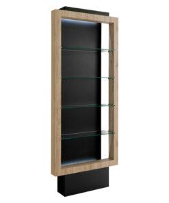 Espositore Vista AGV Group con mensole in vetro, struttura in legno laminato, colori come da campionario.