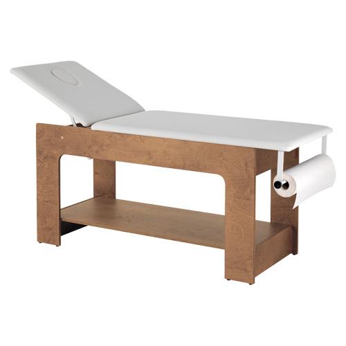 Lettino Larus AGV Group per estetica realizzato in legno Okumè ad 1 snodo. Misure:670 x 1950 x 790