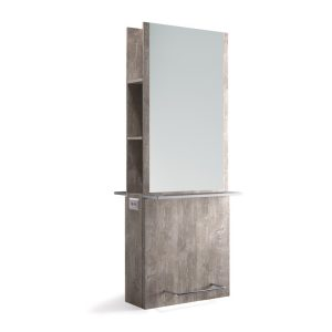 Mensola Smart Double Salonitaly con specchiera a parete a due posti. Specchiera a parete a due posti con predisposizione per inserimento prese elettriche. Struttura e piani lavoro in nobilitato finitura legno. Appoggiapiedi in acciaio cromato. Foro sul piano per portaphon
