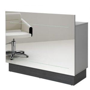Mobile reception Rio AGV Group per parrucchieria e centro estetica in legno laminato grigio e zoccolo color nero, frontale a specchio
