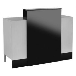 Mobile reception Tesis AGV Group per parrucchiere ed estate con tavolo cassa in legno laminato, colori come da campionario, retro cassa in legno laminato grigio con cassetto con chiave e vani portaoggetti.