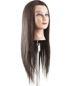 Testa studio Tecno Cut Lungo Xanitalia realizzata con capelli 40% naturali e 60% fibra sintetica. Lunghezza cm 45/50, colore 4.
