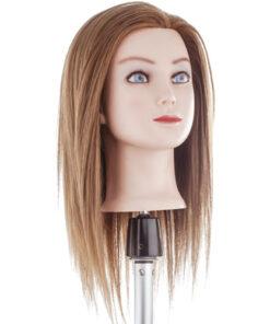 Testa studio tecno Hair Medio Xanitalia realizzato con capelli 60% naturali umani di origine indiana e 40% di fibra sintetica. Lunghezza cm 35. Colore 6.