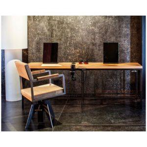 Bronx Tavolo centrale Beauty Star in ferro nero verniciato e piano in laminato effetto legno, spessore cm 4, completo di porta phon.Misure: cm 220 x 60 x h80
