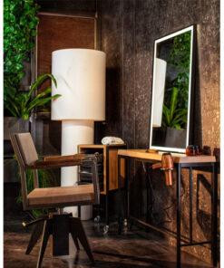 Chelsea Consolle a muro Beauty Star in ferro nero verniciato e piano in laminato effetto legno spessore 4 cm con porta phon. Specchio BOWERY cm 67 x 100 illuminazione LED incorporata, profilo in ferro nero verniciato.