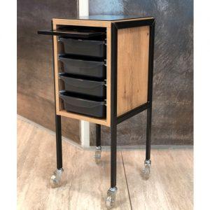 Carrello Coney Island Beauty Star in nobilitato effetto legno e ferro nero verniciato.Misure: cm 35 x 40 x h85