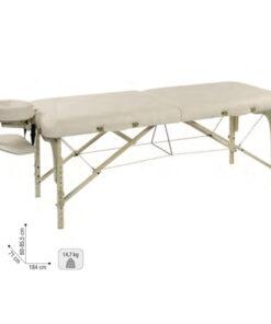 Lettino massaggio Rafael Sibel modello portatile con materasso spesso 6,3 cm e spigoli arrotondati. Realizzato in legno di faggio europeo. È possbile abbassare il livello del lettino per praticare massaggi Shiatsu. Borsa da trasporto compresa. Si piega in pochi secondi.