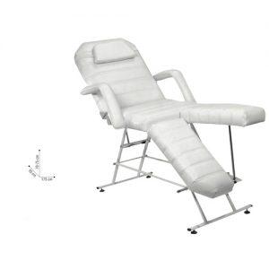 Lettino Podochair Sibel è una sedia per pedicure con i supporti per le gambe regolabili separatamente. È regolabile anche lo schienale, per una posizione più comoda. È possibile far scivolare il cuscino per la testa nella posizione ideale e i braccioli sono estraibili.