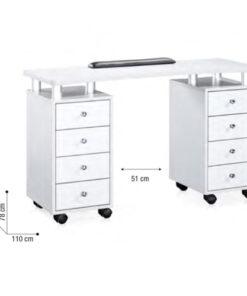 Nail Station II Sibel è un tavolo per manicure con 8 cassetti realizzato in MDF e metallo. Larghezza interna: 51 cm.