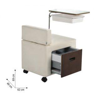 Poltrona Manicure Sibelè un carrello-poltrona tutto in uno di grande stile e con finiture raffinate.