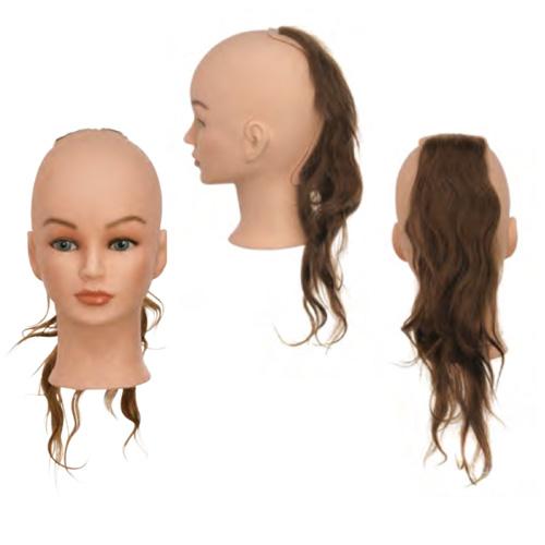 Sezione Back 2 Sibel senza testa costituita da capelli 100% umani per corsi a tema specifici. Impianto natural, densità medium 200-230 capelli/cm2