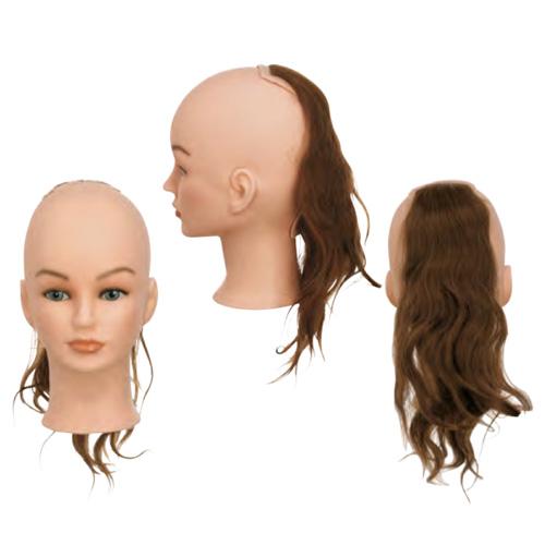 Sezione Back 3 Sibel senza testa costituita da capelli 100% umani per corsi a tema specifici. Impianto natural, densità medium 200-230 capelli/cm2