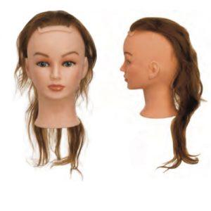 Sezione Silhouette Sibel senza testa costituita da capelli 100% umani per corsi a tema specifici. Impianto classic, densità medium 200-230 capelli/cm2