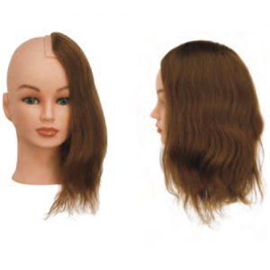 Sezione Sinistra Sibel senza testa costituita da capelli 100% umani per corsi a tema specifici. Impianto natural, densità medium 200-230 capelli/cm2