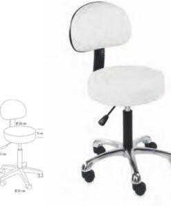 Sgabello Beauty Comfort Sibel per estetista regolabile in altezza con schienale.