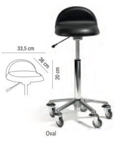 Sgabello Oval Sibel regolabile in altezza, base a stella in alluminio, rotelle anti-capelli. Adatto per tutte le corporature.