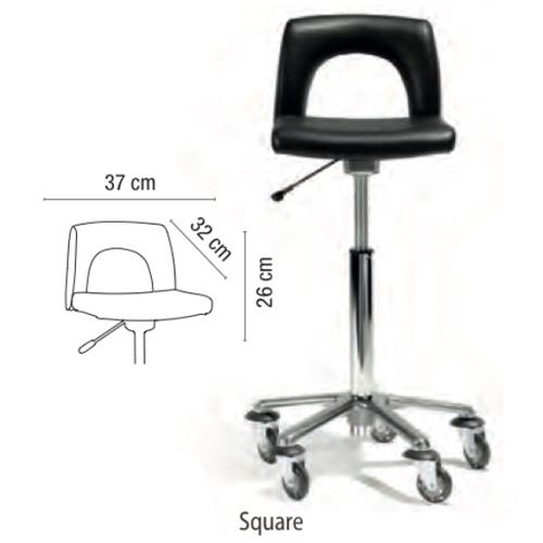 Sgabello Square Sibel regolabile in altezza, base a stella in alluminio, rotelle anti-capelli. Adatto per tutte le corporature.