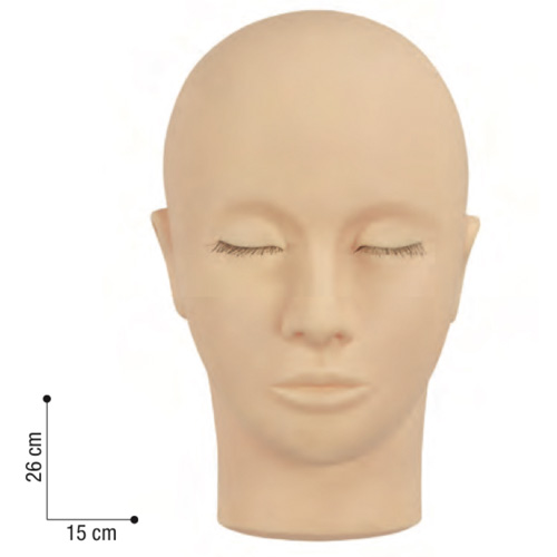Testina Formazione Applicazione Ciglia Sibel utile per la pratica nell'applicazione delle tecniche di extension delle ciglia e colorazione permanente. Può anche essere utilizzata per esercitarsi con il massaggio facciale e per l'applicazione di ciglia finte e make-up