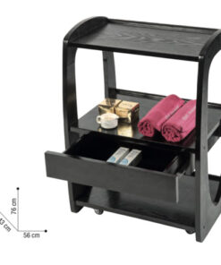 Trolley Zen Sibel è un carrellino in legno scuro con ruote. Carico massimo 30 kg. Con un piccolo cassetto contenitore.